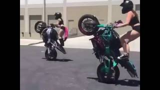 Amazing Girls Doing Crazy Bike Stunts