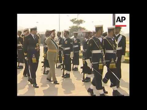 Musharraf saying goodbye to troops before taking off uniform
