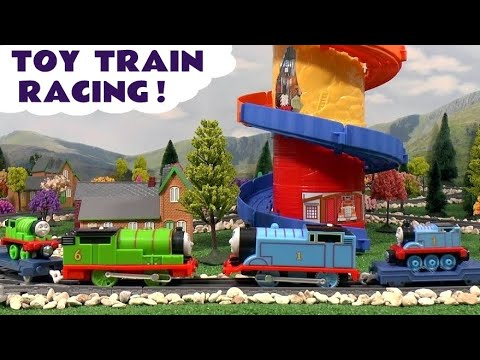 Thomas And Friends Spiral Tower Race Story Funny Minions Play Doh Doo Peppa Pig Cars Dora Olaf Mlp video
