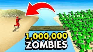 1 SOLDIER ISLAND vs 1,000,000 ZOMBIE ISLAND IN RAVENFIELD (Ravenfield Funny Gameplay)