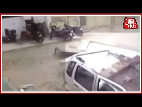 Caught On Camera: Wall Collapse On Top Of Car In Uttar Pradesh  Due To Storm