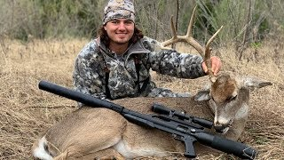 crazy WHITETAIL buck killed with AIR RIFLE!! (catch clean cook)