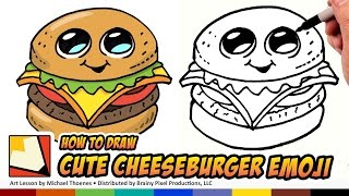 How to Draw Cute Food - Cheesburger - Draw a Cartoon Cheesburger Step Step