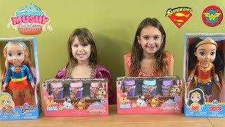 Princesses open NEW Toddler Wonder Woman and Supergirl Toys & Smooshy Mushy Squishy Toys
