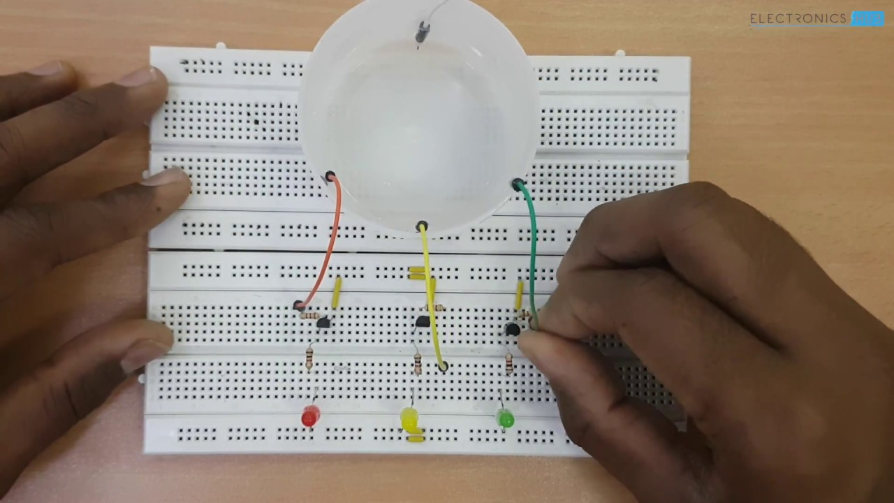 Simple Water Level Indicator Using Transistors With Alarm Circuit Tagssimple Electrosomewater Circuitliquid Sensor Projectsimple