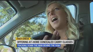 Mysterious sign advertising at-home concealed carry classes posted at Fort Myers intersection