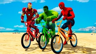 THE AVENGERS - Spiderman, Hulk & Iron Man EXTREME BMX FUN Battle! Video for Kids