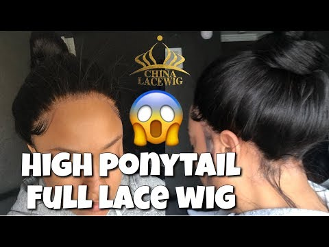 How to: High Ponytail Full Lace Wig   ChinaLaceWig Review