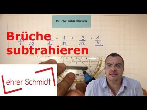 Brüche subtrahieren   Bruchrechnung   Mathematik     Lehrerschmidt - einfach erklärt!