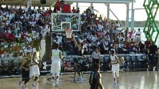 Dunk almost brings the hoop down