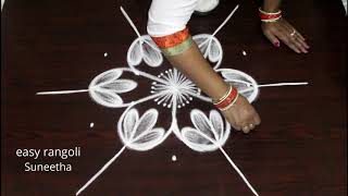 Bright n amazing rangoli art designs by Suneetha || easy n simple cute kolam || latest muggulu