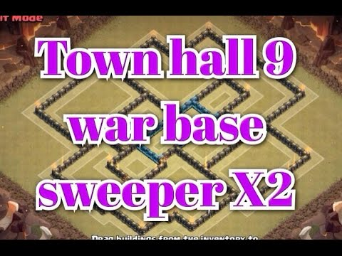 New th9 war base with 2 air sweepers anti lavaloon anti gowipe clash