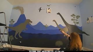 Dinosaur theme mural - Boy's interior design - time lapse