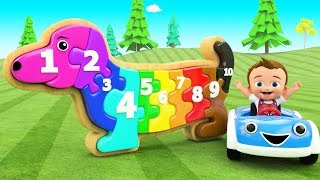 Little Baby Fun Learning Colors & Numbers for Children with Dog Wooden Puzzle Toy Set 3D Kids Edu