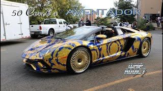 WhipAddict: 50 Cent's Versace Wrapped Lamborghini Aventador on Gold Rims at DJ Envy Car Show