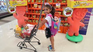 Kids Pretend Play Shopping at Supermarket and Helping Customers