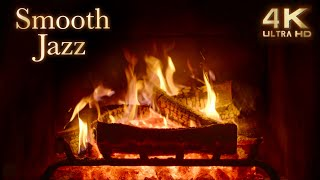 Smooth Jazz Music with Crackling Fireplace 4K - 3 Hours - Cozy Ambience - Night