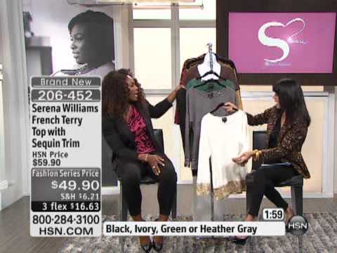 Serena Williams French Terry Top with Sequin Trim