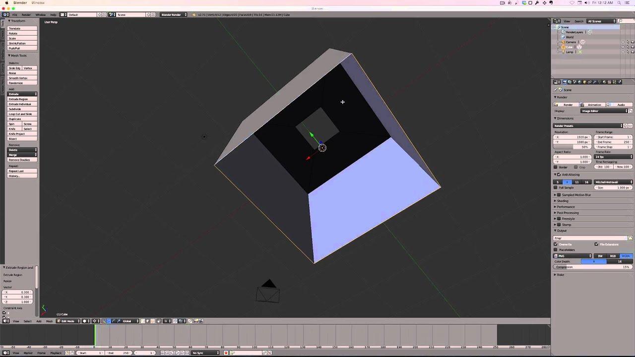 how to make blender camera a square