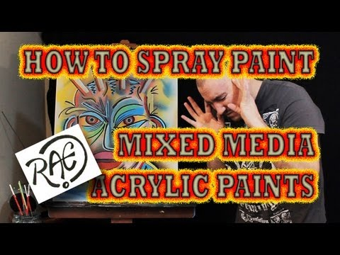 to spray paint a funky graffiti art face mixed media tutorial using. Black Bedroom Furniture Sets. Home Design Ideas