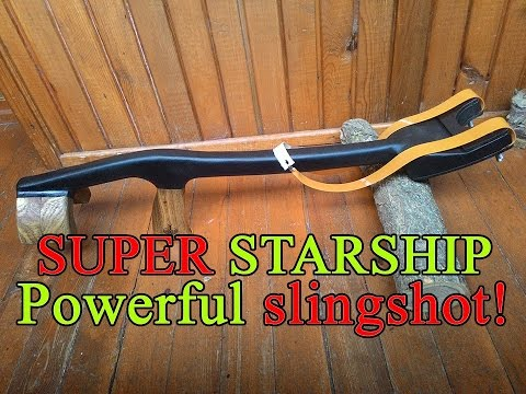 Очень мощная рогатка. Как сделать. | Homemade powerful slingshot.
