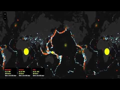 Все извержения, землетрясения и крупных выбросов, начиная с 1960 года