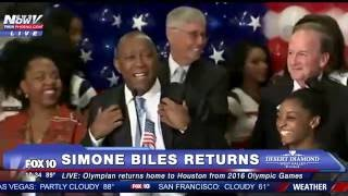 FNN: Gold Medal-Winning Gymnast Simone Biles Returns to Houston From 2016 Olympic Games in Rio