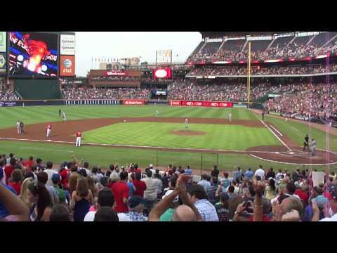Atlanta Braves' Chipper Jones Hits First-Pitch Homerun off Dodger Chris Capuano (8/17/2012)
