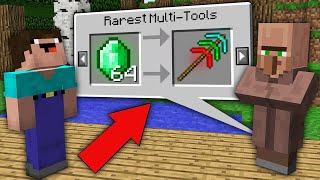 Minecraft NOOB vs PRO : ONLY THIS VILLAGER TRADING RAREST MULTI PICKAXE! Challenge 100% trolling