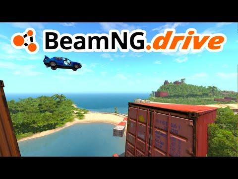BeamNG Drive - Big Jumps, Container Crash!