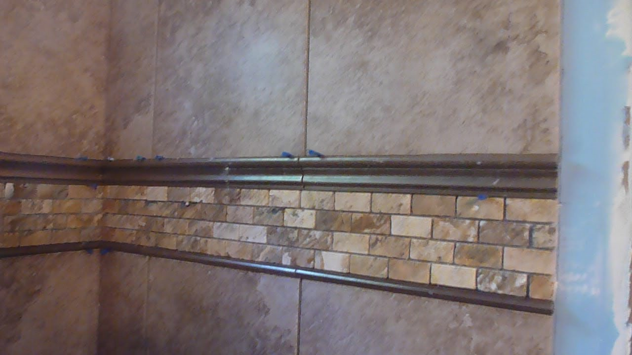 Part 3 how to tile 60 tub surround walls installing mosaic accent border and shelf youtube - Installing tile around bathtub ...