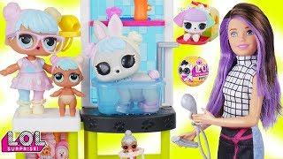LOL Surprise Dolls + Lil Sisters Take New L.O.L. Pets Series 3 Wave 2 to Skipper Barbie Doll Vet