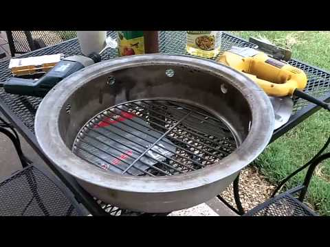 Master Forge Vertical Charcoal Smoker Part 3 - fire pan mod