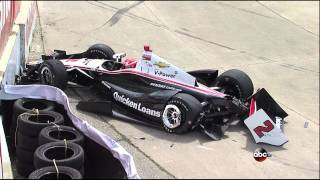 AJ Allmendinger Hard Crash 2013 IndyCar Detroit Race 1