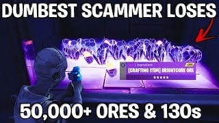 Dumbest Scammer Loses 50,000+ Ores! (Scammer gets scammed) Fortnite Save The World
