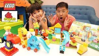 BÉ BÚN CÓ LEGO DUPLO MỚI: KHU VUI CHƠI CỦA BÉ và HỘP LẮP RÁP ĐỘNG VẬT ĐẦU TIÊN | Video for children