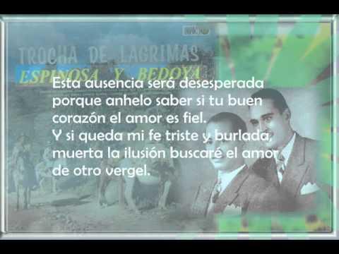 Espinosa y Bedoya Un recuerdo de amor Letra