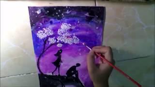 vẽ người và trời đêm đơn giản bằng màu nước Thiên Long- watercolor painting