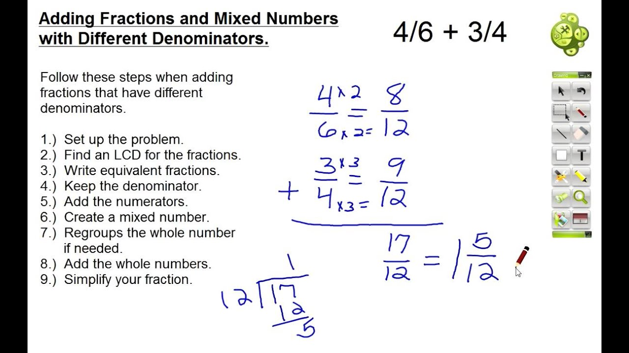 Adding Fractions and Mixed Numbers With Different Denominators ...