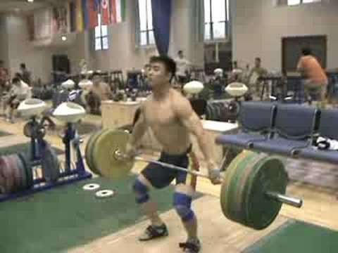 www.superior-athletic.com 140kg(308lbs) snatch from the hang for a double. I would guess this is a 62kg lifter. Video taken from the National training base in Beijing.