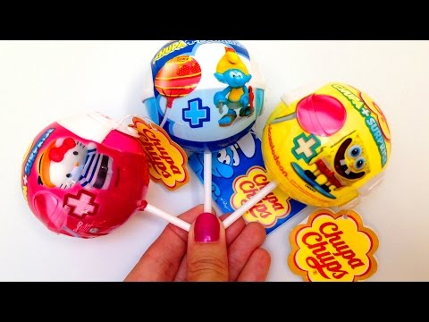 Chupa Chups Spongebob The Smurfs Hello Kitty Surprise Eggs Lollipops Candies Surprise Toys video