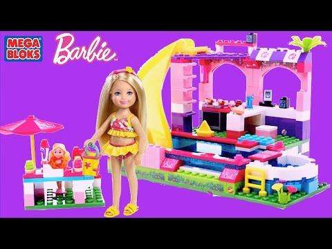 Barbie Mega Bloks Barbie Build N Play Chelsea Pool Party with Barbie Mermaid Dolls