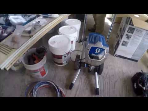 spraying interior walls with and airless sprayer paint. Black Bedroom Furniture Sets. Home Design Ideas