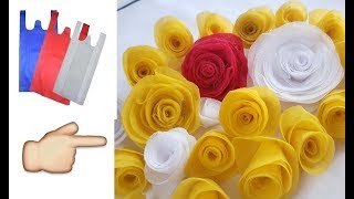 How to Make  Rose Flower with Fabric Carry bag // Best Reuse Idea of Fabric Carry Bag