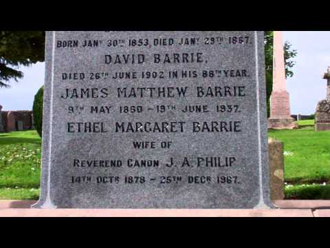 James Matthew Barrie Gravestone Cemetery Kirriemuir Angus Scotland video