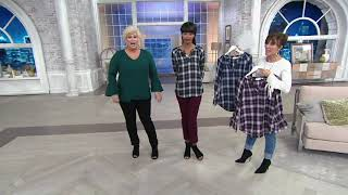 Belle by Kim Gravel Flannel Plaid Blouse with Tie Sleeve on QVC