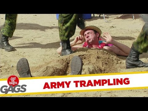Army Troops Trample Man At The Beach