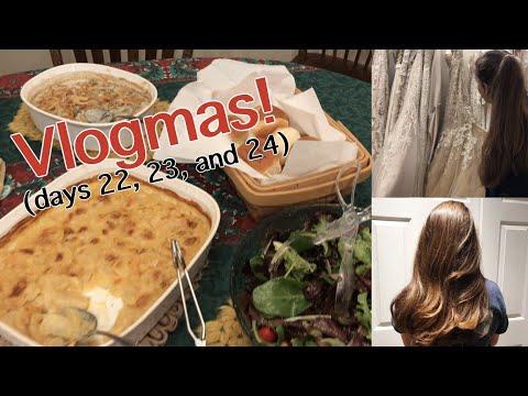VLOGMAS: Wedding Dress Shopping Cutting My Sister's Hair and Christmas Eve