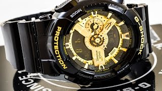 Casio GSHOCK GA110GB-1A REVIEW   How To Set Time   LIGHT DISPLAY
