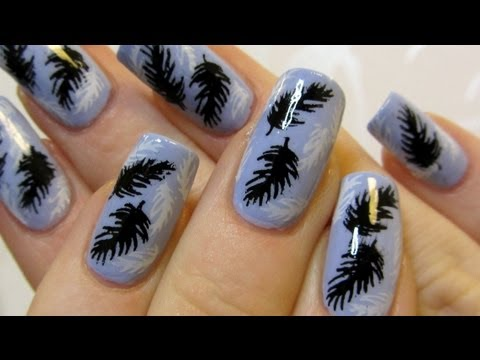 Bornprettystore Review & Tutorial Winter Feather Stamping Nail Art Design